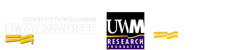 Row of three logos. UWM, UWM Research Foundation, and Lubar Entrepreneurship Center